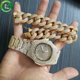 2019 conjuntos de joyas 24k oro de alta calidad. Reloj de lujo Pulsera de diseño para amor Pulsera de tenis de diamantes Relojes helados Joyas Hip Hop Hiphop Brazalete de eslabones cubanos Bling Charms Rap