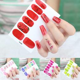 art noix jaune rouge Promotion Coloré flowder conçu nail art autocollant couverture totale rouge rose jaune rose stickers ongles art décoration paillettes autocollant RA003