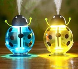 Para USB Portátil Ultrasónico Escarabajo Humidificador beatles Purificador de Aire Nebulizador ABS Botella Lámpara LED Luz de noche en casa Oficina Coche Humidificador desde fabricantes