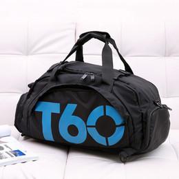 zapatos suaves de la piel Rebajas T60 Fshion Gym Bag Impermeable de nylon Hombres Deporte Mujeres Gimnasio bolsa de viaje al aire libre Espacio separado para los zapatos bolsa Ocultar Mochila sac