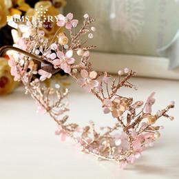 decorazioni rosa corona Sconti Himstory Handmade Sweet Pink Round Tiara Tiara Crowns Wedding nuziale Diadema Hair Tiara Accessori di decorazione