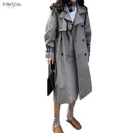 Herbst Frühling Konventionelle Koreanische Gürtel Zweireiher Mittellanger Trenchcoat Mujer Loose Fashion Large Size Windbreak Outwear