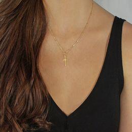 Piccole crociere d'oro online-Catena Oro Argento Croce Collana piccola croce d'oro Chokers monili di Hip Hop per gli uomini donne Regali per regalo di Natale