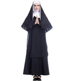 costumi personalizzati su supereroi Sconti Stilista Costume di Halloween Adulto Gesù Cristo Da donna Manica lunga Missionario Pastore Abbigliamento Maria Priest Suora Servizio Giochi di ruolo