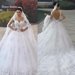 Wholesale 2019 luxe princesse plage robe de mariée robe de mariée robe de soirée D dentelle Floral Applique Boho robes de mariée