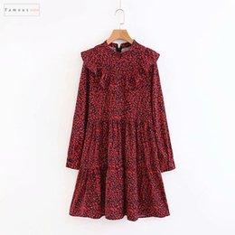 vestido de lã de lã vermelho longo Desconto Vestido longo Vintage feminina Vermelho Leopard Print Mini Mulheres elegantes senhoras Ruffles Vestidos Casual Chic Roupa estilista Magro Festa