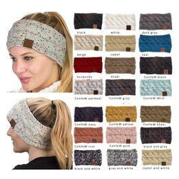 Hilo elástico online-CC Hairband del hilo de algodón de colores de la torcedura de punto de ganchillo diadema del oído Mujer del calentador del invierno venda elástico del pelo accesorios pelo ancho