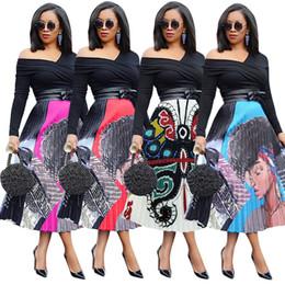 Vestido estampado de mitad de la pantorrilla online-Camisa de las mujeres vestidos de verano diseñador Mid-Calf impresión de dibujos animados sueltos vestidos plisados elegante clubwear LJJA2645