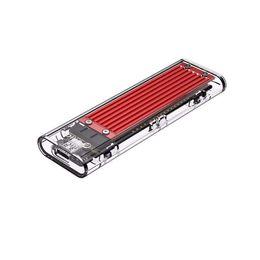2019 игрок sata Корпус жесткого диска Прозрачный USB3.1 Gen2 Type-c M.2 NVME SSD HDD Case работает с 2230 2242 2260 2280 SSD для PCPhone UP 2TB (красный