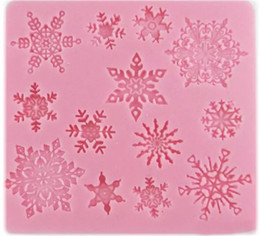 fondant snowflakes Promo Codes - 3D Baking Mold Moulds Silicone Snowflake Star Shape Christmas Decorations Lace Chocolate Party DIY Fondant Cooking Decorating tools