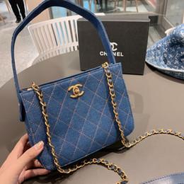 Blaue kastenlieferung online-Frauen Tote 2019 Fashion Vintage Blue Plaid Ketten Rucksack Größe 20 * 9 * 16cm WSJ012 weicher und eleganter Stoff Lieferung Geschenkkarton