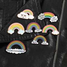 rainbow badge Promo Codes - Cute Rainbow Enamel Pins Cartoon Rainbow Clouds Brooches Badge Denim Jeans Lapel Pin Dream Jewelry Gift For Women Men Children