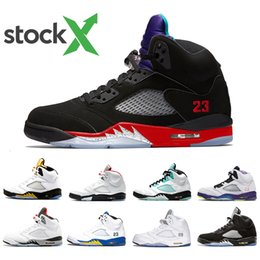 sports fire Promo Codes - Stock X Top 3 Fire Red 5 Mens basketball shoes Alternate Bel Island Green White Cement Alternate Grape 5s men sports designer sneakers