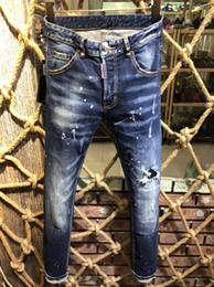 nuevos pantalones para hombre de moda Rebajas Nueva Moda Casual D2 # 0230 Hombres Skinny Stretch Jeans Distressed Ripped Slim Fit Jeans Pantalones Skateboard Marca Hombre Denim Pantalones