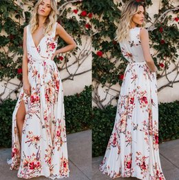 785f4bb211d0 Summer Bohemian Printed Flora Women Casual Dresses Split A Line Deep V Neck  Flowy Party Dress Vestidos Beach Holiday Dress FS5334