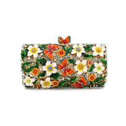 Hochzeit handtaschen bräute online-Neue Frauen Kristall Tag Clutch Handtasche Abendtasche Blumen und Schmetterlinge Brides Hochzeit Clutch Geldbörse Diamanten Umhängetasche