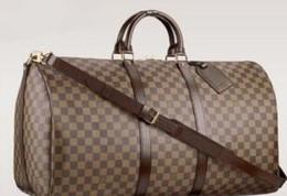 Кожаные сумки для мужчин цена онлайн-2019 Специальная цена новая мода мужчины женщины дорожная сумка кожаная сумка сумки багажа большой емкости спортивная сумка сумка 55 см