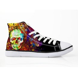 Teschi da scarpe da ginnastica online-Mens High Top Sneakers pittura Black Shoes Maschile Graffiti Teschio scarpe scarpe casual traspirante vulcanize di alta qualità