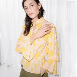 2019 blusa de impressão de flores amarelas 2019 novas mulheres top amarelo romântico flor imprimir manga comprida plissado blusa blusa de impressão de flores amarelas barato
