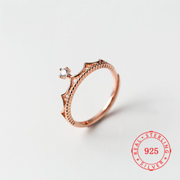 gemstone ring designs for women Promo Codes - US Size 6 ~ 9 New Design Rose Gold Jewellery Korea Crown Ring Sterling Silver 925 CZ Gemstone Ring For Lady Women