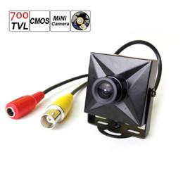 Cableado de cámaras de seguridad online-CCTV 700TVL CMOS con cable Mini cámara de seguridad micro digital Caja de metal con lente de 3,6 mm de ancho