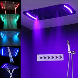 Canada Colonne de douche unique salle de bains télécommande multifonction pluie rideau cascade Spa Jet LED lumière pluie tête de douche cheap shower curtain lights Offre