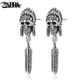 dd83439dd Zabra 925 Sterling Silver Earrings For Men Indian Vintage Punk Skull Long Stud  Silver Mens Earrings Fashion Jewelry 2017 C19041101