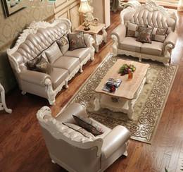 Натуральная кожа гостиной онлайн-Роскошный Европейский Стиль Натуральная Кожа Гостиная Диван Мебель 1+2+3 Из Китая