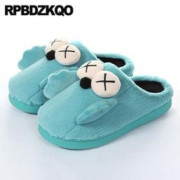 f2a0a46b23f6 shoes faux fur funny plus size plush slides green animal bedroom winter  cartoon large footwear house women ladies slipper big