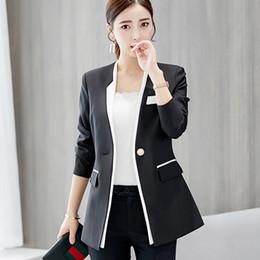 2019 coreano senhoras blazers 2019 Primavera Outono Mulheres blazers ternos Coreano Moda Feminina blazers e jaquetas Fino Outerwear Casuais Senhoras Casuais coreano senhoras blazers barato