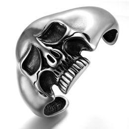 2019 schweres, großes edelstahlarmband Punk 316L Edelstahl Huge Heavy Skull Zähne Männer Biker Rocker Armband Armreif Schmuck günstig schweres, großes edelstahlarmband