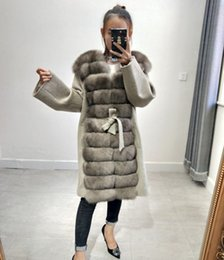 face slimmer belt Promo Codes - Natural real fox fur double-faced wool blend real fox fur coat with belt leather ladies jacket new women's leather jacket