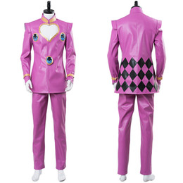 adventure games Promo Codes - Anime JoJo's Bizarre Adventure Golden Wind Giorno Giovanna Cosplay Costume Pink Suit Uniform Halloween Carnival Made!