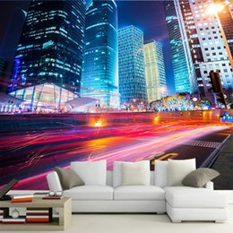 city bedroom wallpaper Coupons - Modern city night view 3d large mural wallpaper corridor living room bedroom TV background wallpaper Personality wallpaper bar