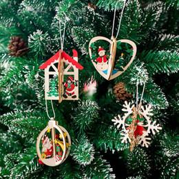 2020 pintura combinada 1 unid Empalme Combinado Pintado Adorno de Navidad Madera Santa Claus Oso Muñeco de nieve Colgante para Árbol de Navidad Decoración para el hogar Accesorios rebajas pintura combinada