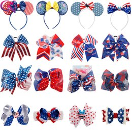 girls leather stick Coupons - JOJO Bows American Flag Hair Bows 4th of July Wholesale Hair Clips For Girls Fashion Baby Headband Sequin Hairbands Headwear
