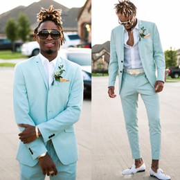 mens summer suits for weddings Promo Codes - Mint Green Mens Suits Slim Fit Two Pieces Beach Groomsmen Wedding Tuxedos For Men Peaked Lapel Formal Prom Suit (Jacket+Pants)