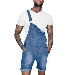 botões de suspensão jeans Desconto Calças de brim dos homens Macacão Casual Ocasional Botão Calça Jeans Jean Homens Lavar Calças de Bolso Quebrado Suspender Calças Bonito
