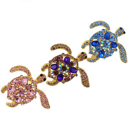 rhinestone brooches for sale Promo Codes - Hot sale High-Grade Rhinestones Cute Animal Green Turtle Crystal Rhinestone Brooch Tortoise Jewelry for party