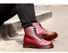 DMS marca de fábrica caliente del cuero auténtico Botines hombres y mujeres de invierno botas para la nieve Doc Martens Botas tobillo de los zapatos de piel Dr. Martins Oxfords zapatos de los pares desde fabricantes