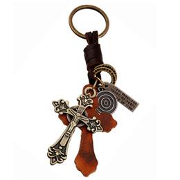 llavero cruz de cuero Rebajas Llavero de bronce retro Cruz cristiana llavero cruz de la aleación de cuero sostenedor de la llave del anillo del encanto pendiente del regalo del recuerdo Cristiano