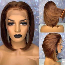 penteados curtos para onda profunda negra Desconto Curto Blunt Cut Bob 13x6 parte dianteira do laço do cabelo humano peruca de Remy Liso Castanho Colorido HD Transparente Invisible Lace Wig 150 Densidade