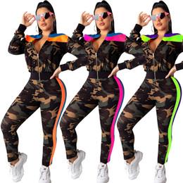 donne camicia da bagno camouflage Sconti Tuta mimetica donna 2 pezzi tuta abbigliamento sportivo tuta cardigan pantaloni tuta sportiva leggings outwear abiti giacca autunno 1433
