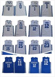 Uomini NCAA Kentucky Wildcats College Basketball Jersey 0 Fox 1 Booker 11 Wall 12 Città 15 Cugini 23 Davis All'ingrosso di alta qualità da giallo uniforme di pallacanestro verde fornitori