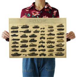 Ii guerra online-Carro armato della seconda guerra mondiale Poster Carrozzeria retro della carta Kraft Art Crafts Bar Cafe 51.5 * 36 CM