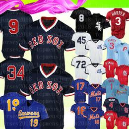 Бейсбольные майки бостон онлайн-Бостон Ретро Ред Сокс 9 Тед Уильямс 34 Дэвид Ортиз Джерси Чикаго Уайт Сокс 8 Бо Джексон 19 Бейсбольные майки Robin Yount