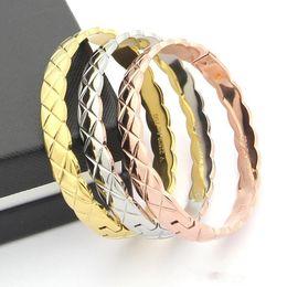 Mode 316L edelstahl Silber / gold / rose gold Weibliche Liebe Armreifen charme Armbänder für frauen männer Schmuck Pulseras Party geschenke N2475 von Fabrikanten