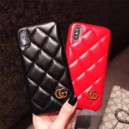 étuis élégants iphone 6s Promotion 2019 De luxe modèle téléphone cas élégant en cuir PU Shell pour Iphone X XS MAX XR 8 7 7 Plus 6 6 s Plus couverture célèbre marque