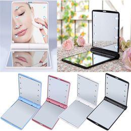 rendere piacevole Sconti 8 luci del LED Lampade Specchio cosmetico Pieghevole portatile Trucco compatto Pocket Specchi Lighting Makeup Tool Donne Bel regalo