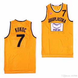 Трикотажные изделия онлайн-Мужской Тони Kukoc Джерси #7 которого разделить фильм баскетбол кофта желтый Бесплатная доставка дешевые сшитые логотипы
